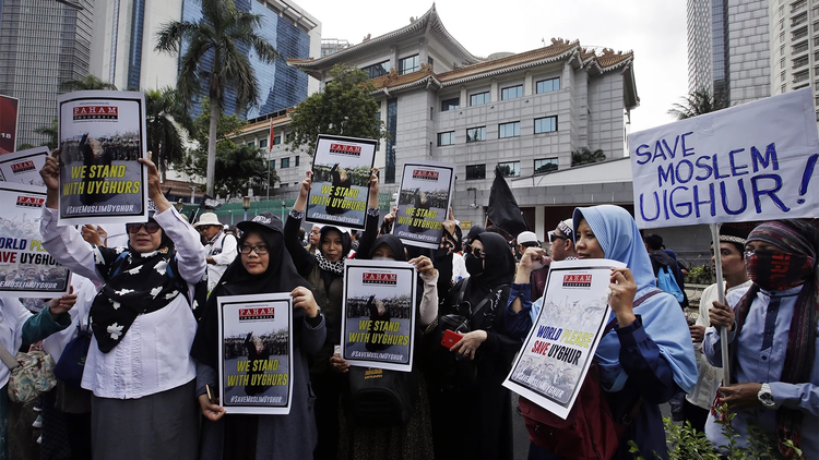 A protest outside the Chinese embassy in Indonesia last year.