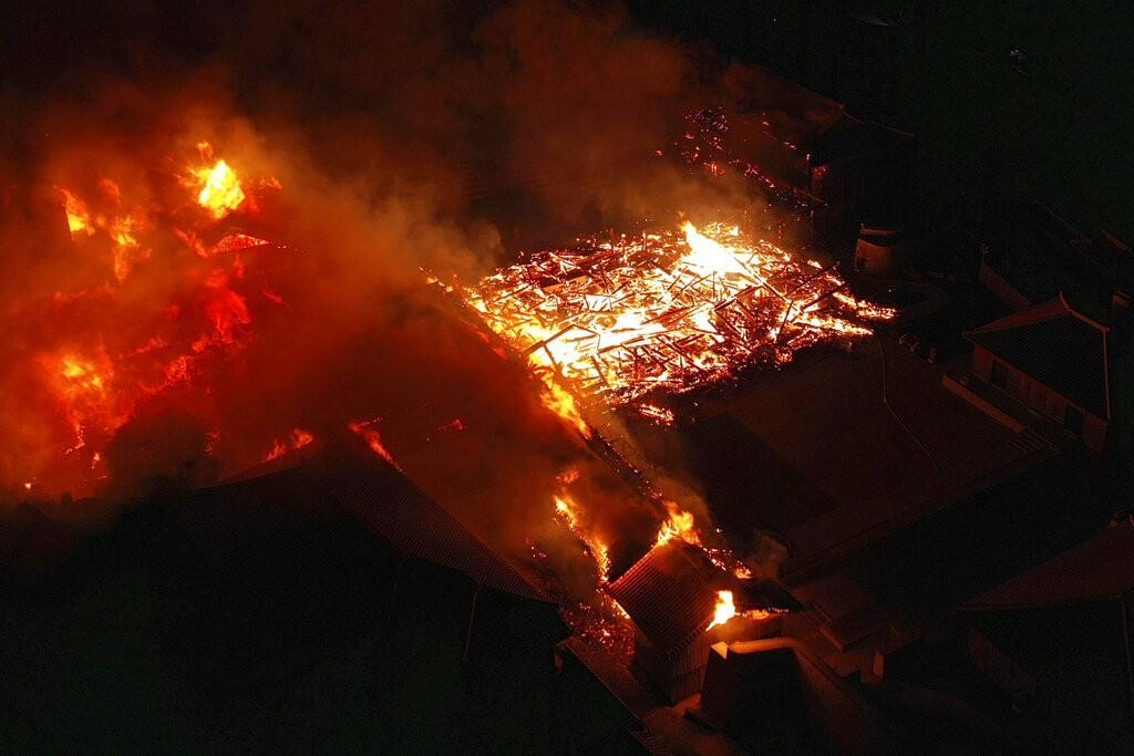 Shuri Castle ablaze.