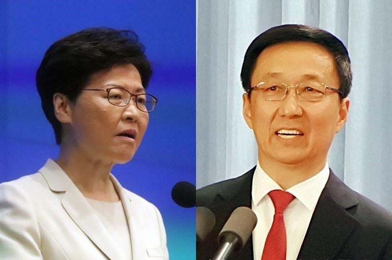 林鄭月娥(左)、韓正(圖/中央社)