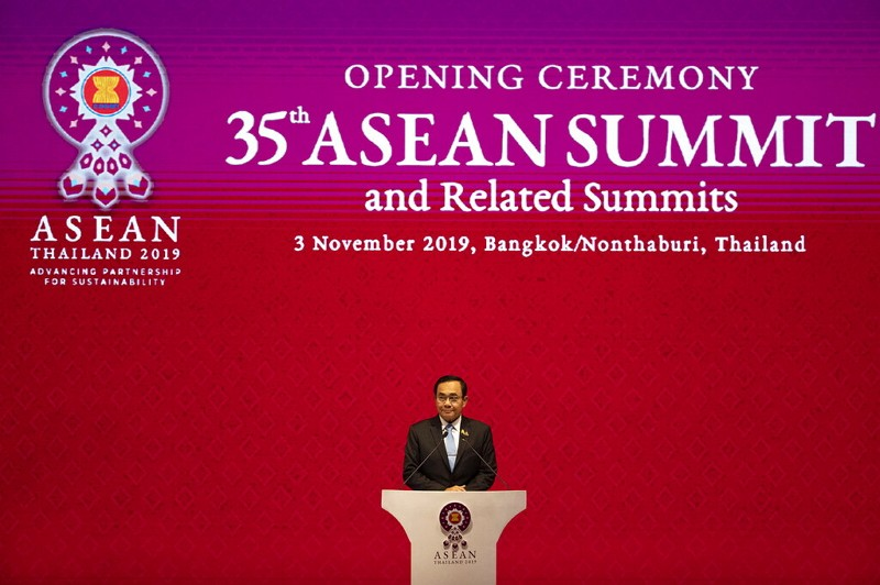 Thailand Prime Minister Prayuth Chan-ocha delivers a speech during the opening ceremony of the 35th ASEAN meeting.