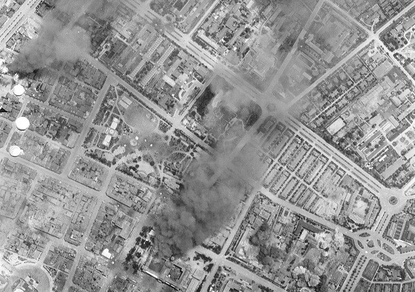 Bombing of Taihoku. (United States Army Air Forces)