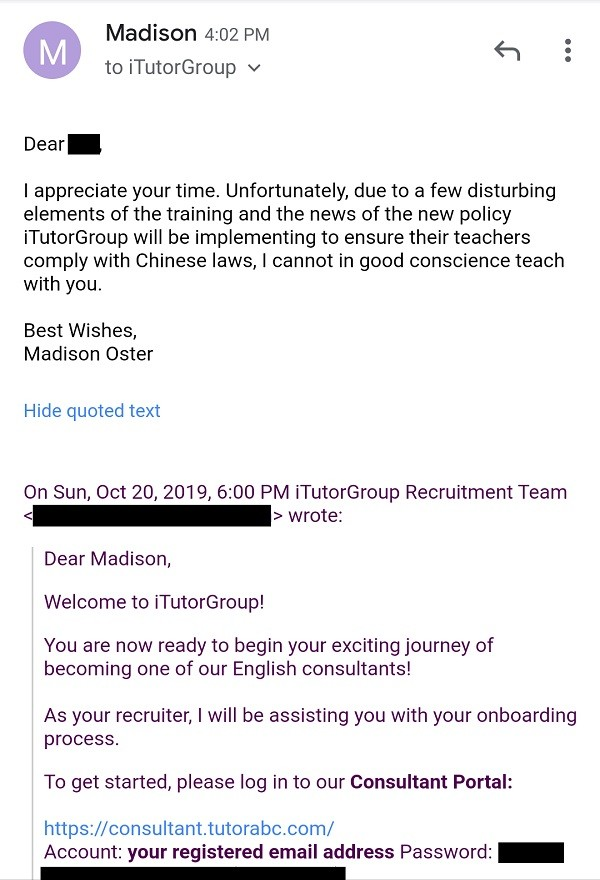 Another English teacher quits TutorABC over invasive 'one China' policy toward Taiwan