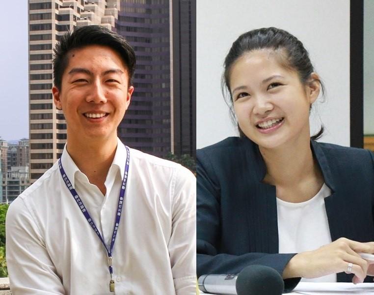 吳崢(左)、林亮君(右)8日晚宣布退出時代力量。中央社