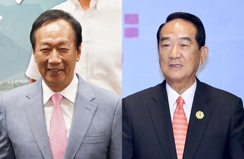 Terry Gou (left) and James Soong