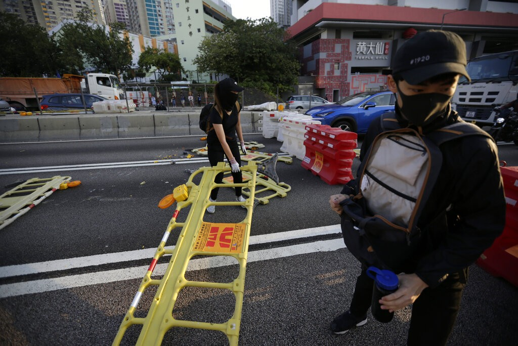 Hong Kong protesters set up blockades.