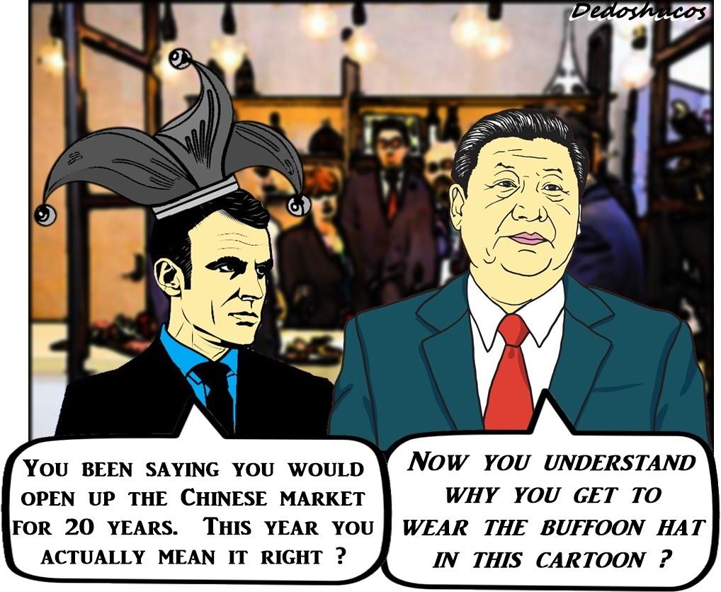 Macron (left), Xi. (Allan Rios illustration)
