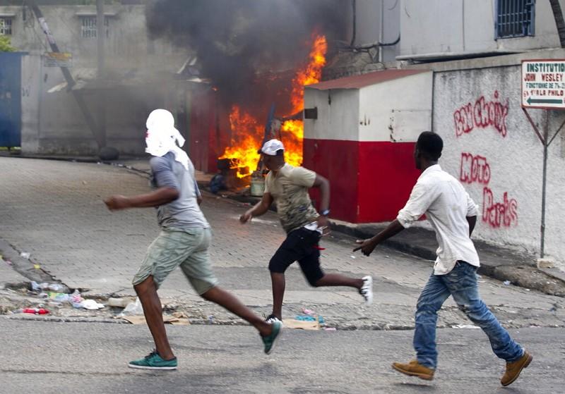 Demonstrators against Haiti President Jovenel Moïse.