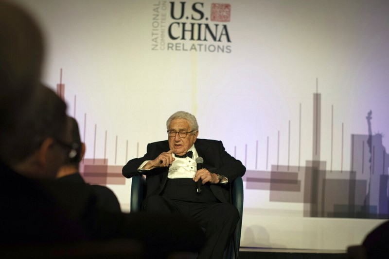 Henry Kissinger gives a speech on U.S.-China relations.