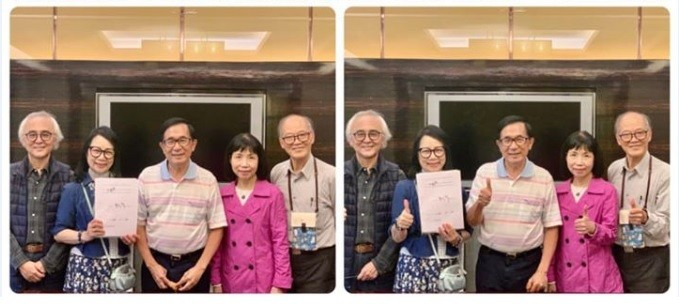 圖為前總統陳水扁(中)20日在住處收下一邊一國行動黨提名推薦書,右2為陳昭姿。官方臉書