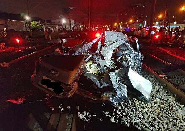 TRA train collides with silver sedan, Nov. 22.