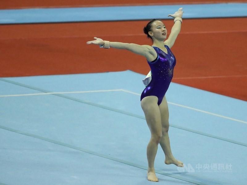 示意照為今年10月丁華恬參加全運會女子競技體操項目。(中央社檔案照片)