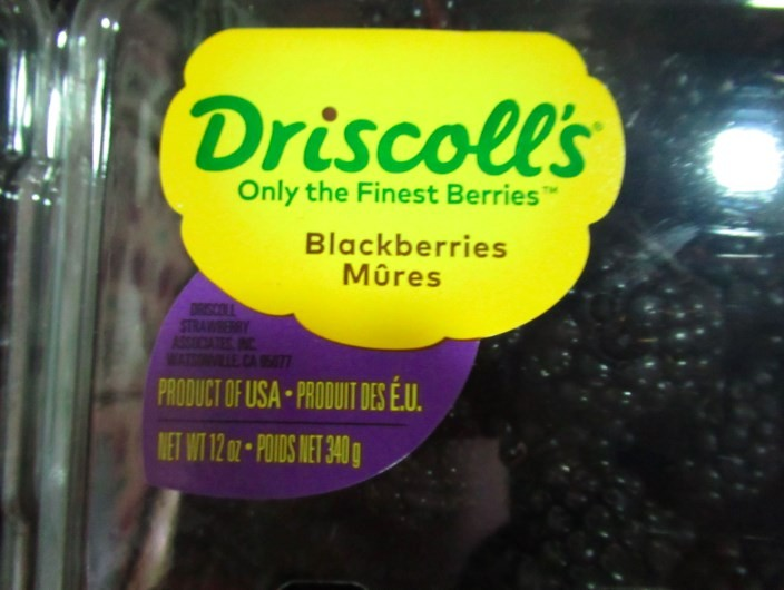 美式賣場好市多從美國進口的黑莓驗出農藥殘留違規。圖/食藥署提供