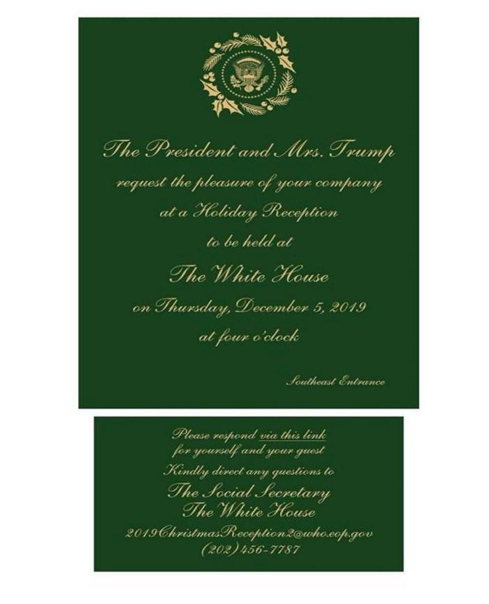 郭台銘接獲美國白宮聖誕派對邀請函(如上圖)。中央社