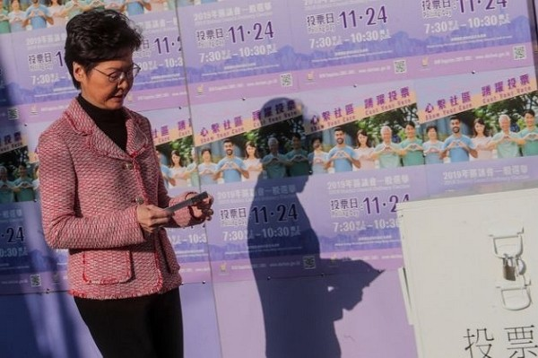 Carrie Lam votes in Hong Kong local elections Nov. 24.