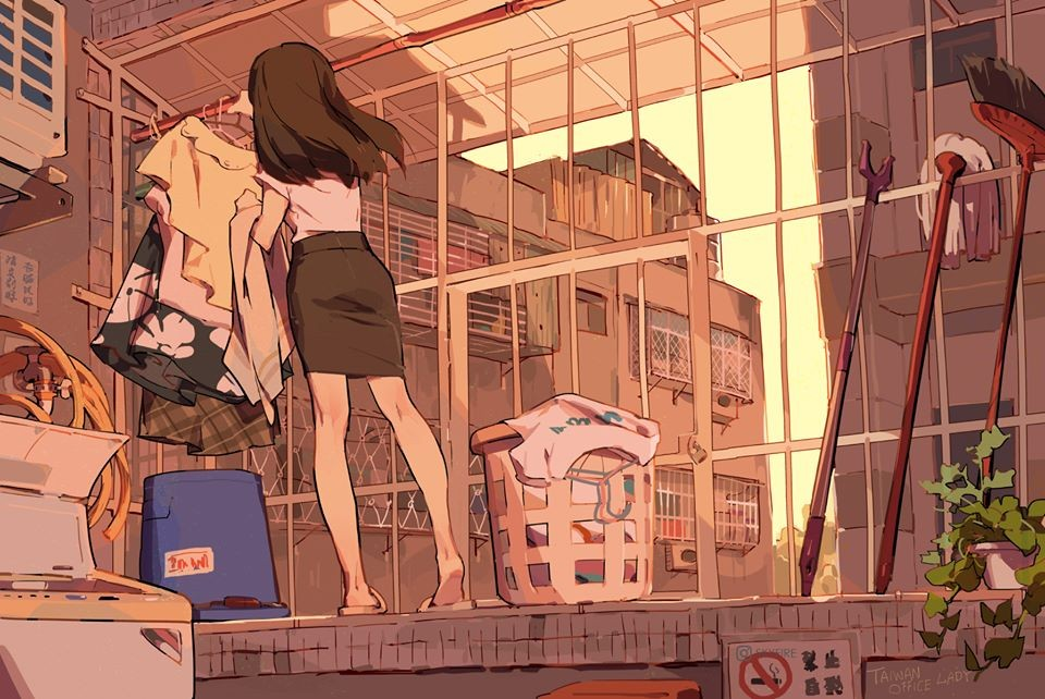"""""""Drying clothes space."""" (Illustration by Skyfire)"""
