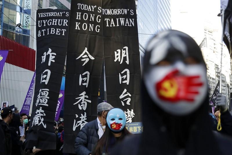 圖為香港12月8日示威情形 (美聯社)