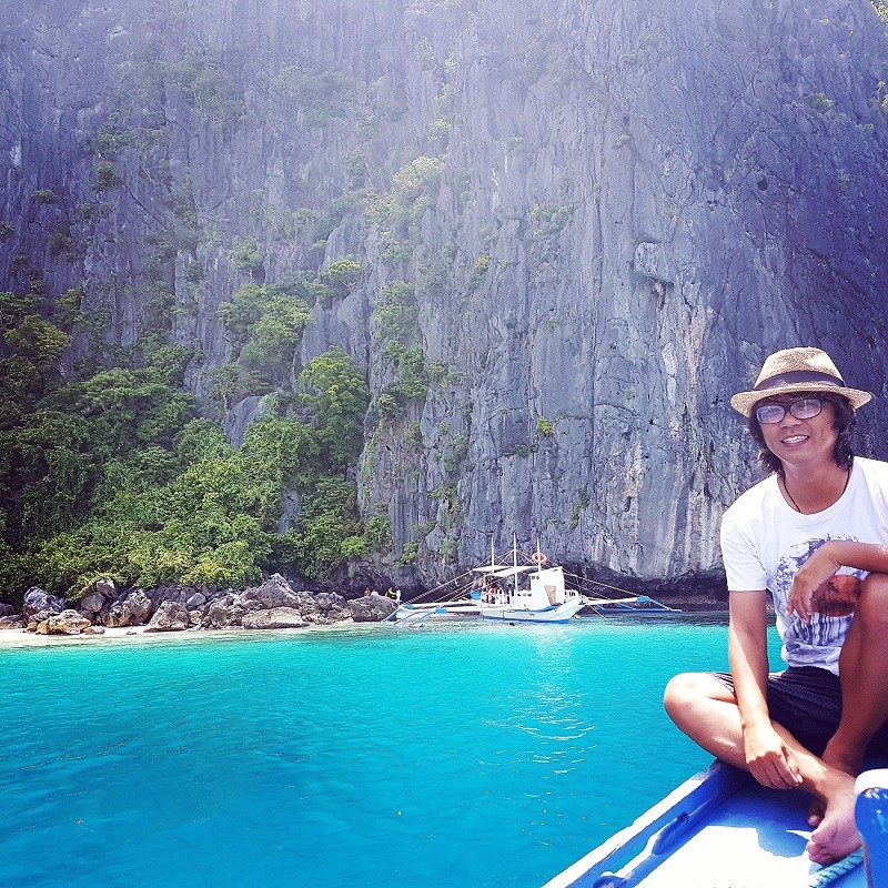 Justine Liu at Talisay Beach in El Nido, the Philippines.
