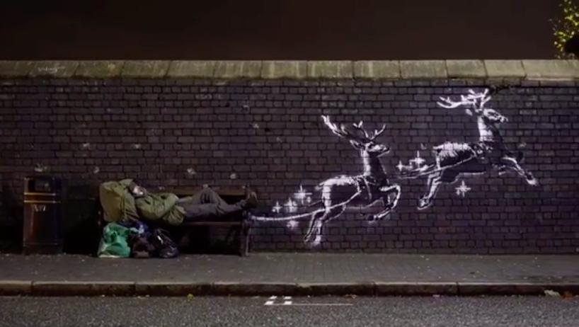 班克西聖誕新作現身英國伯明翰(圖擷取自班克西Instagram)