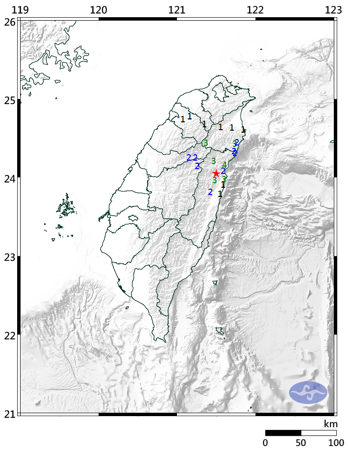 A magnitude 4.0 quake struck Hualien County Tuesday noon (image by Central Weather Bureau).