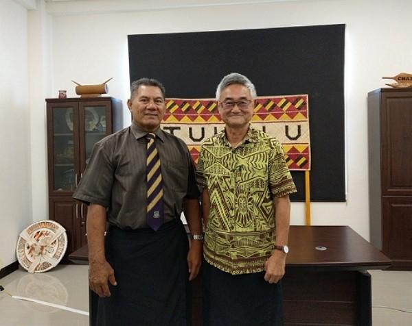 Kausea Natano, with Taiwan's ambassador Marc Su
