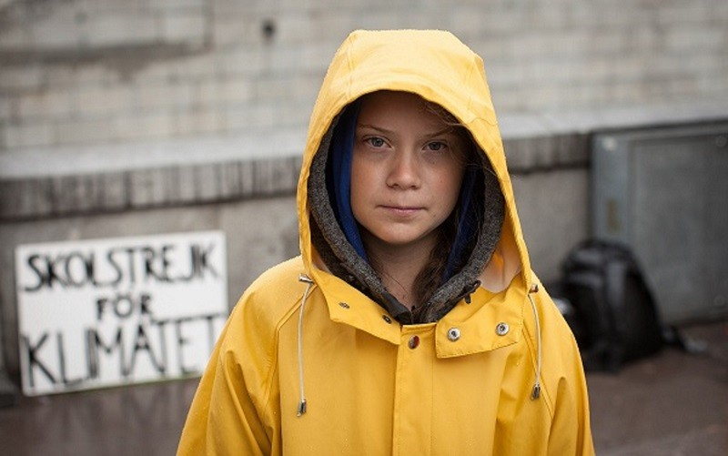 Greta Thunberg in front of Swedish parliament.
