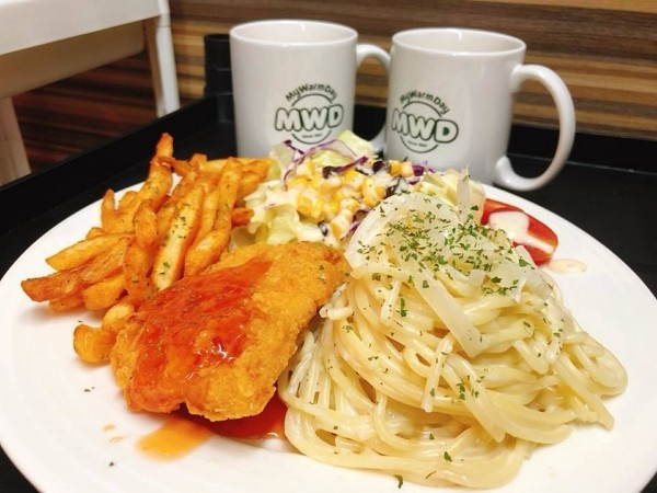 MWD's Crunchy Chicken Pasta with Thai Sauce is popular among Taiwan breakfast lovers. (MWD photo)