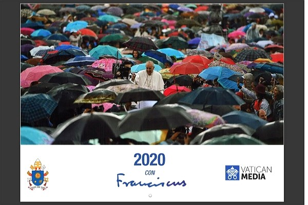 Hundreds of umbrellas featured on Vatican's New Year calendar cover.