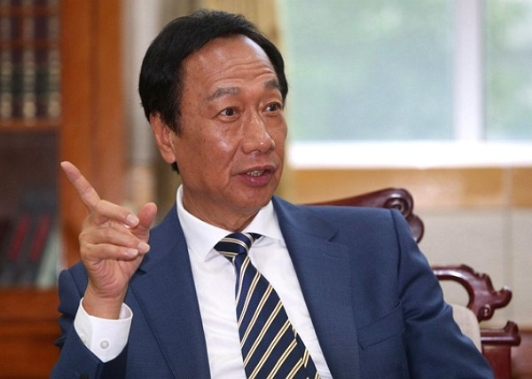 Terry Gou bashes DPP for abusing its power. (Foxconn photo)