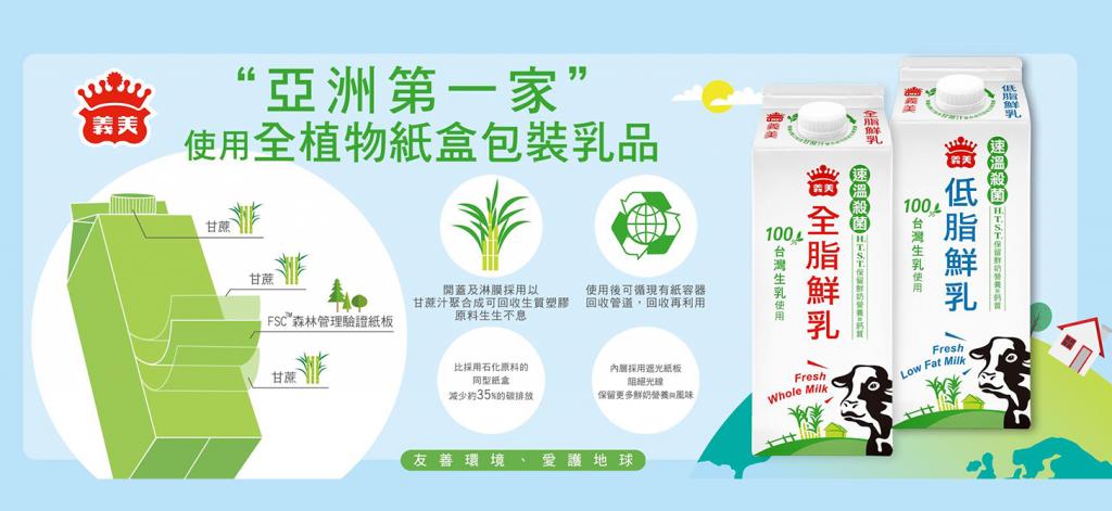 落實環境永續 義美領先亞洲推生質利樂皇包裝鮮乳