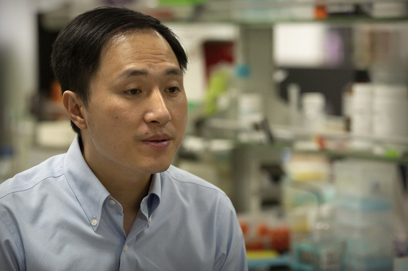 In this Oct. 10, 2018, photo, Chinese scientist He Jiankui speaks during an interview at his laboratory in Shenzhen in southern China's Guangdong prov...