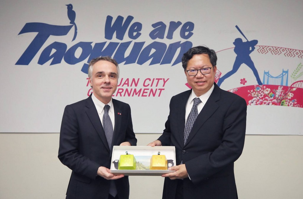 The French representative to Taiwan Benoit Guidee and Taoyuan City Mayor Cheng Wen-tsan (Source: Taoyuan City Government)