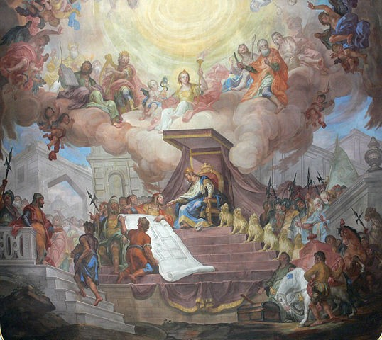 Solomon at his throne, painting by Andreas Brugger, 1777. (Wikipedia)