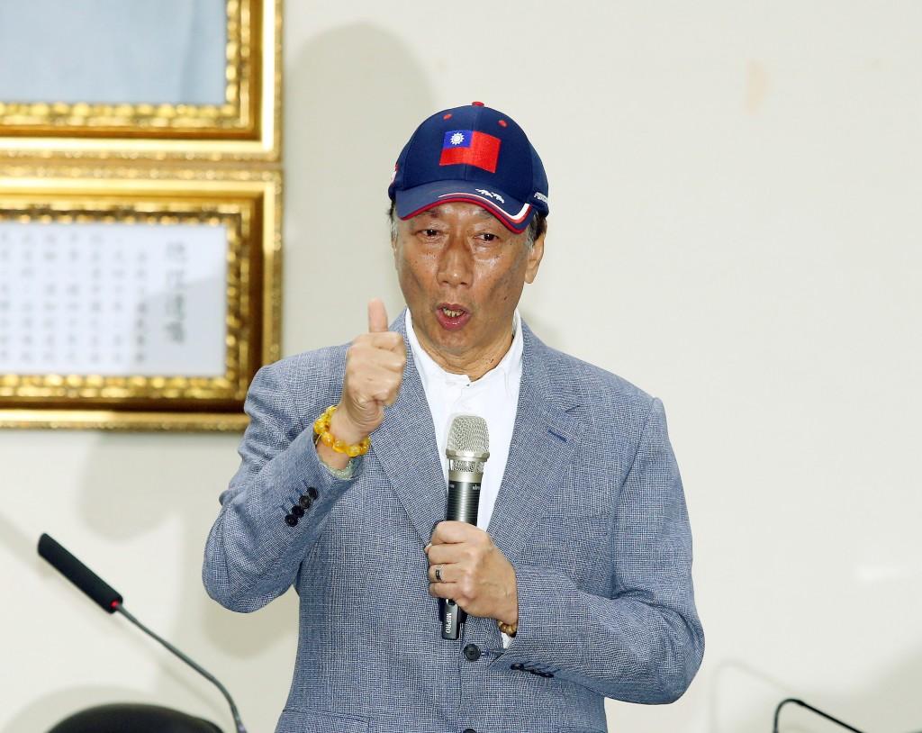 Foxconn founder Terry Gou at KMT headquarters Wednesday.