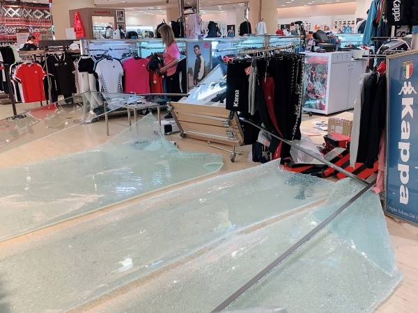 Smashed glass in Far Eastern Department Store.
