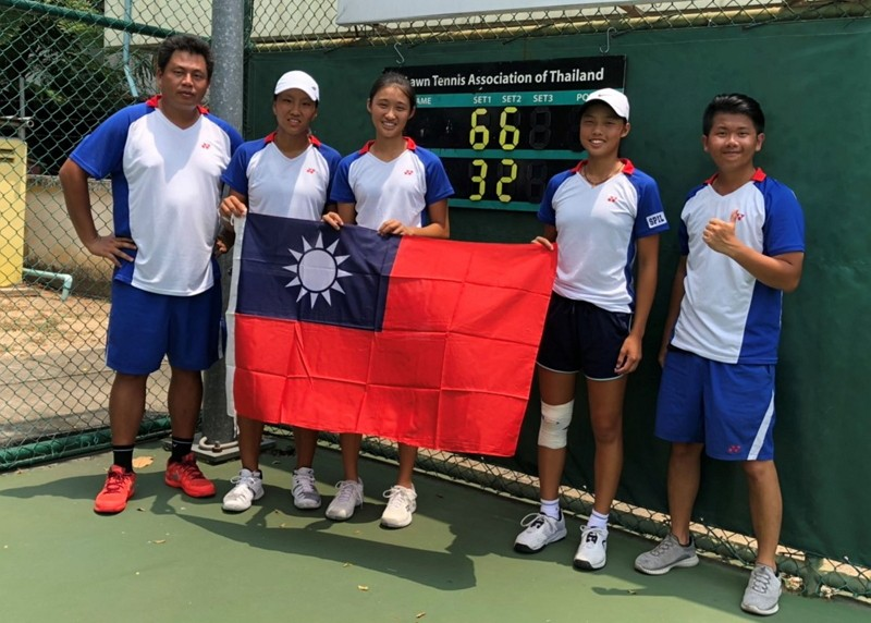 2019青年聯邦盃亞大區資格賽4強戰,台灣網球小將們19日以2比0橫掃南韓