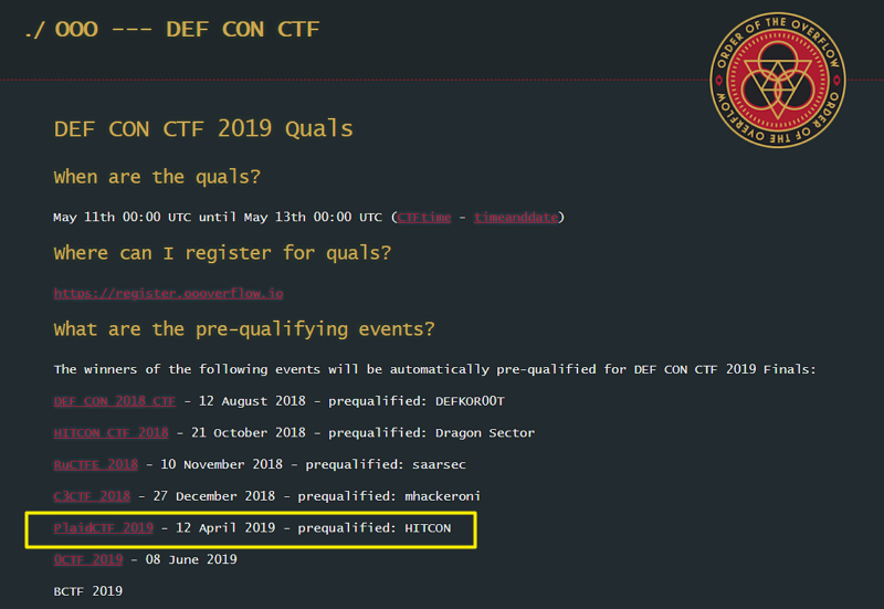 Qualifying page for DEFCON CTF tournament