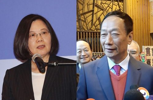 President Tsai Ing-wen (L), and KMT Presidential candidate Terry Gou (R)