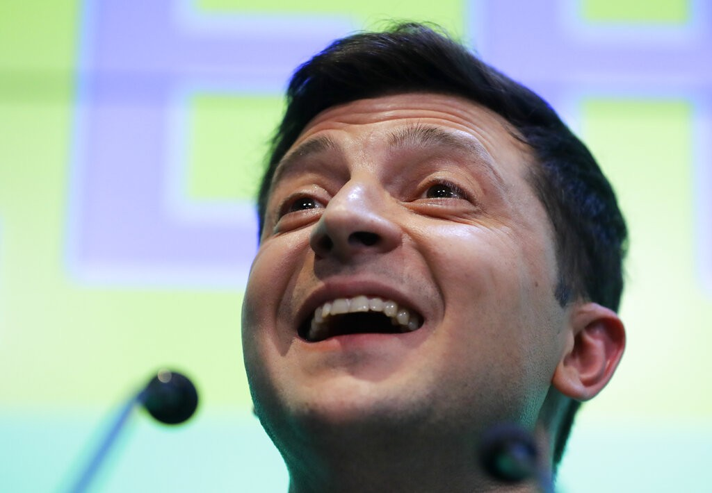 Ukrainian comedian and presidential candidate Volodymyr Zelenskiy speaks to the media and his supporters at his headquarters after the second round of