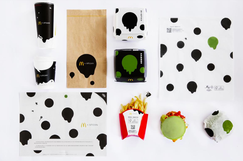 APUJAN 跨界麥當勞為餐點設計墨流新衣(圖/APUJAN提供)