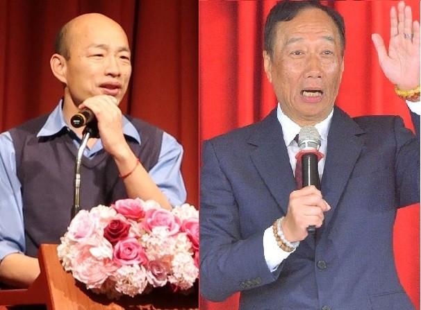 韓國瑜(左)與郭台銘(右)將形成另一種形式的黨內對決。