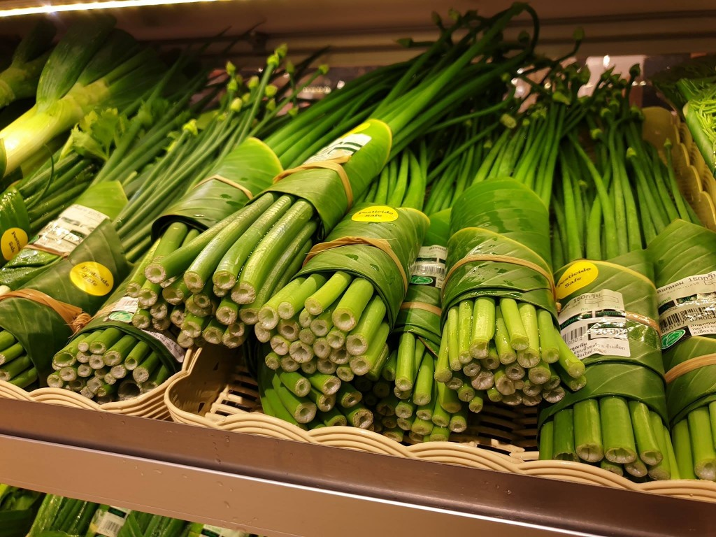 Many fruit and vegetable products are now wrapped in banana leaves. (Pefect Homes Chiang Mai/Facebook)