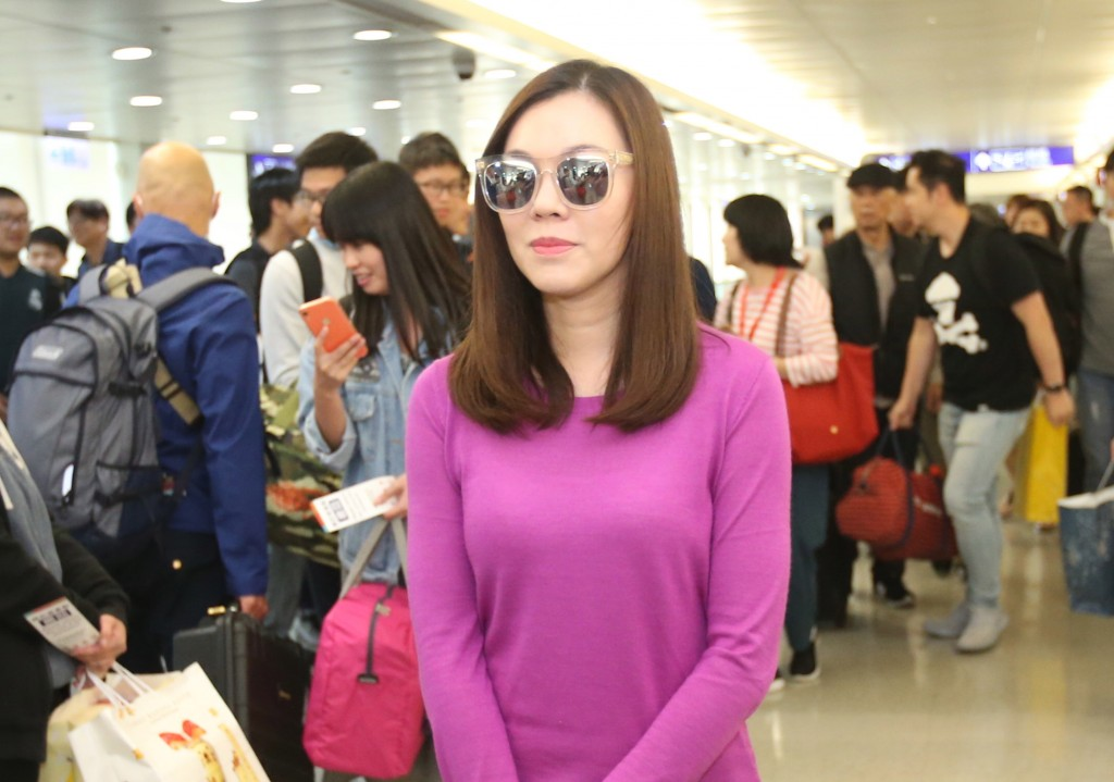 Delia Tseng at Taiwan Taoyuan International Airport after her return from Japan Friday.