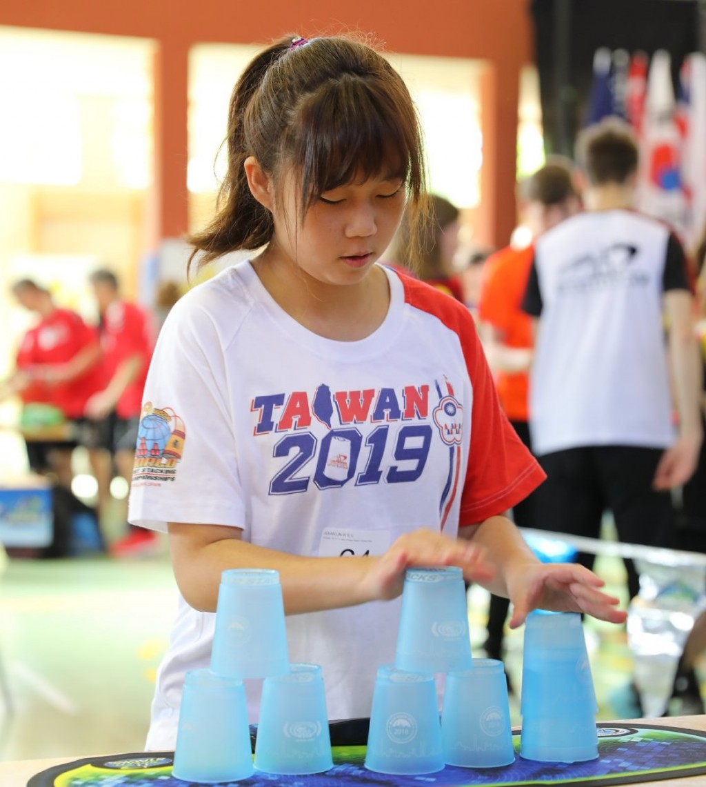 Lin Jui-an competing in Mollina, Spain (photo from Speed Stacks Inc. Facebook page)