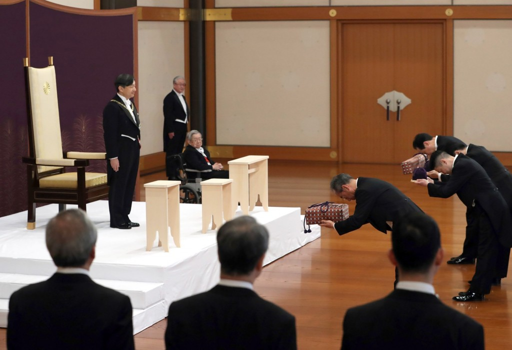 Japan's new Emperor Naruhito receives the Imperial regalia, May 1
