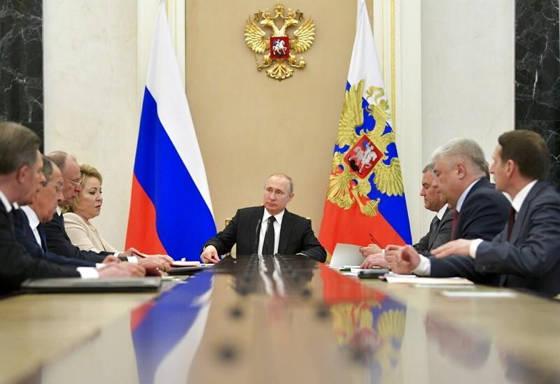 俄國總統普丁主持安全會議(圖/美聯社)