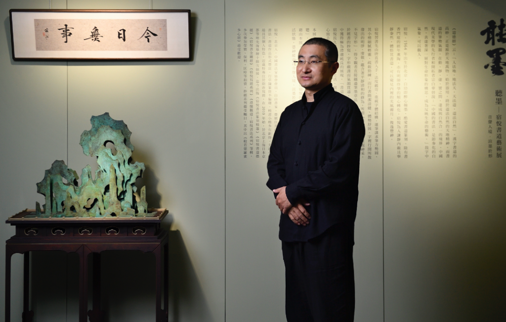 Su Yue showcased thirteen sutra calligraphy works and more in the exhibition (Photographer Wong, De-Fan)
