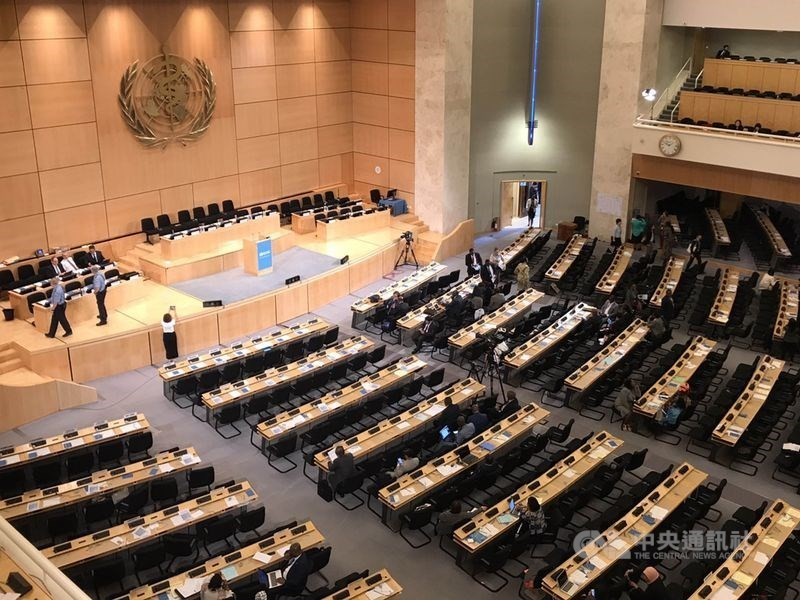 The assembly hall of the Palace of Nations in Geneva where WHA is held.