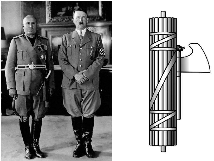 圖:貝尼托·墨索里尼(左)和阿道夫·希特勒(右)分別是義大利和納粹德國的法西斯領導人,及法西斯主義的圖,取自WIKI。
