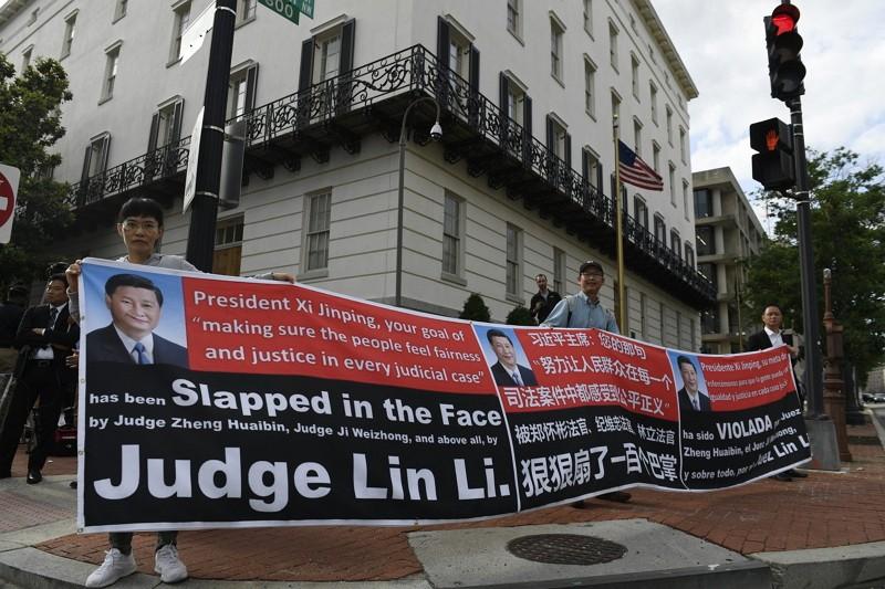 美國貿易代表署外抗議人士(AP)