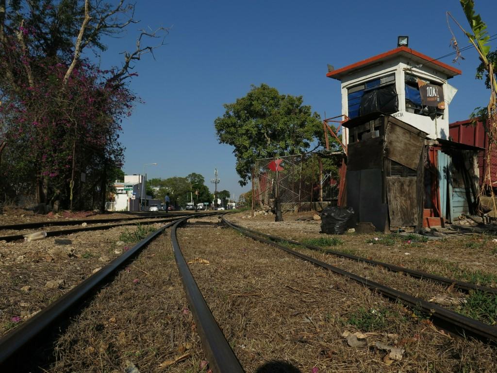A former train stop, called La Plancha, stands next to an old railroad in Merida, Mexico, Thursday, April 11, 2019. A new, government proposed Mayan T